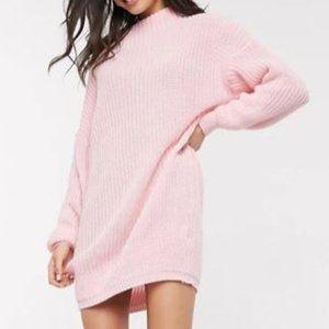 Oversized Pink Knit Sweater Dress